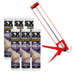 6 X Instant Paintable Caulk White and 1 X Prodec Extra Strong Caulking Gun