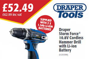 Draper Storm Force 10.8V Cordless Hammer Drill with Li-ion Battery