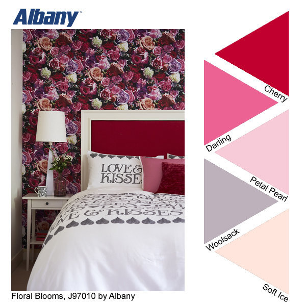 Albany - Floral Blooms wallpaper and Cherry, Darling, Petal Pearl, Woolsack and Soft Ice paint colours
