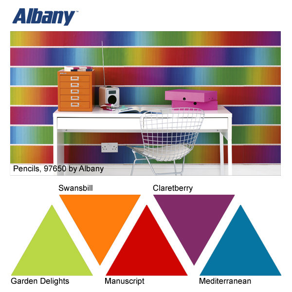 Albany Pencils wallpaper and Garden Delights, Swansbill, Manuscript, Claretberry and Mediterranean paint colours