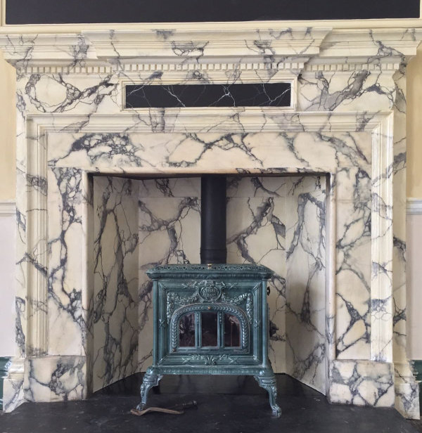 Marble effect fireplace