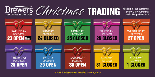 Christmas Trading Hours 2017