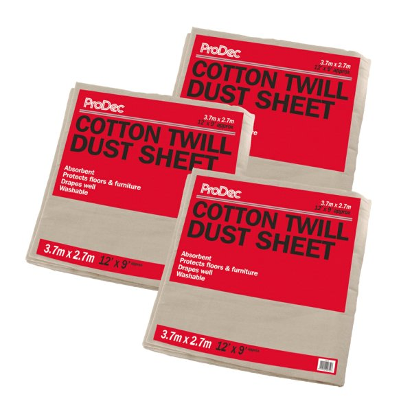 3 X Cotton Twill Dust Sheets