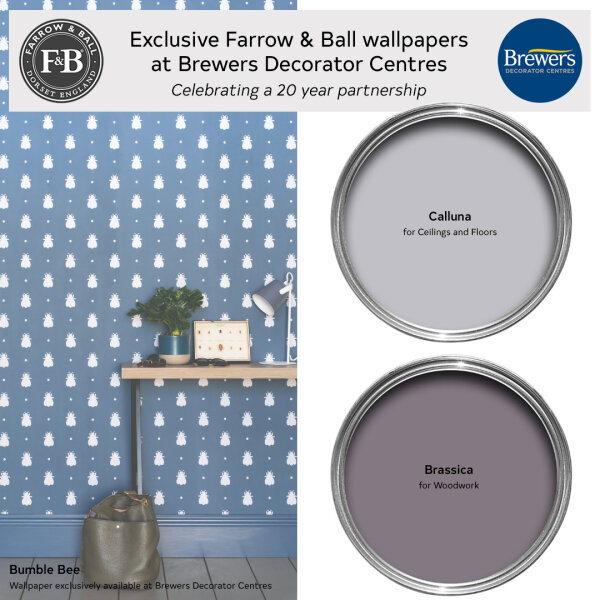 Farrow & Ball wallpaper Bumble Bee exclusively available at Brewers Decorator Centres and it's colour scheme