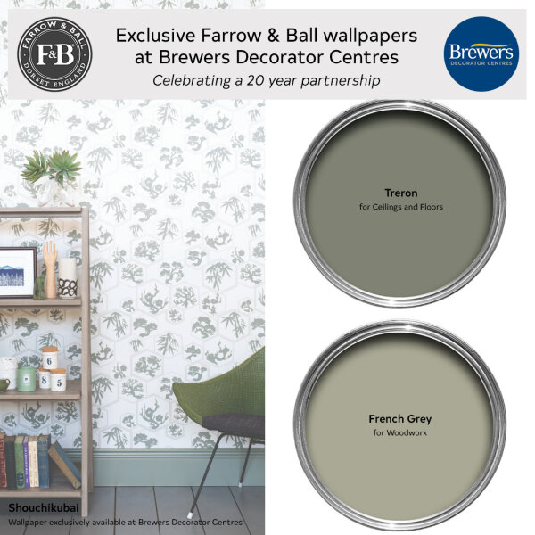 Farrow & Ball wallpaper Shouchikubai exclusively available at Brewers Decorator Centres and it's colour scheme