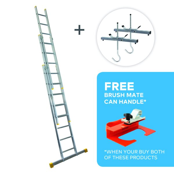 Roof Rack Clamp & 2.4m Box Section Triple Extension Ladder