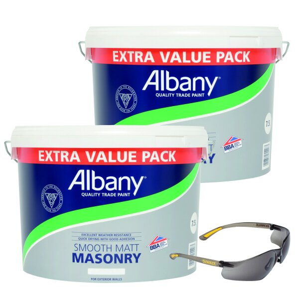 2 X Smooth Masonry Magnolia + Contractor Pro ToughCoat Safety Glasses