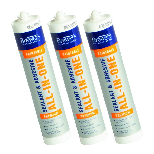 3 X Paintable Sealant & Adhesive ALL-IN-ONE White